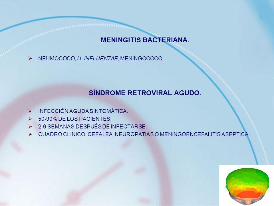 MENINGITIS BACTERIANA. NEUMOCOCO, H. INFLUENZAE, MENINGOCOCO. SÍNDROME RETROVIRAL AGUDO. INFECCIÓN AGUDA SINTOMÁTICA. 50-90% DE LOS PACIENTES. 2-6 SEM