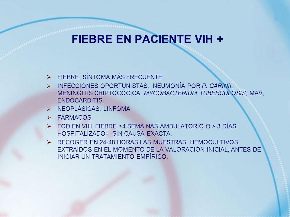FIEBRE EN PACIENTE VIH + FIEBRE. SÍNTOMA MÁS FRECUENTE. INFECCIONES OPORTUNISTAS. NEUMONÍA POR P. CARINII, MENINGITIS CRIPTOCÓCICA, MYCOBACTERIUM TUBE