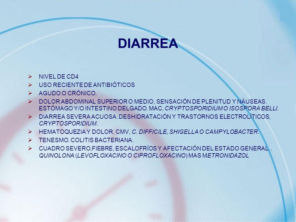 DIARREA NIVEL DE CD4 USO RECIENTE DE ANTIBIÓTICOS AGUDO O CRÓNICO. DOLOR ABDOMINAL SUPERIOR O MEDIO, SENSACIÓN DE PLENITUD Y NÁUSEAS. ESTÓMAGO Y/O INT