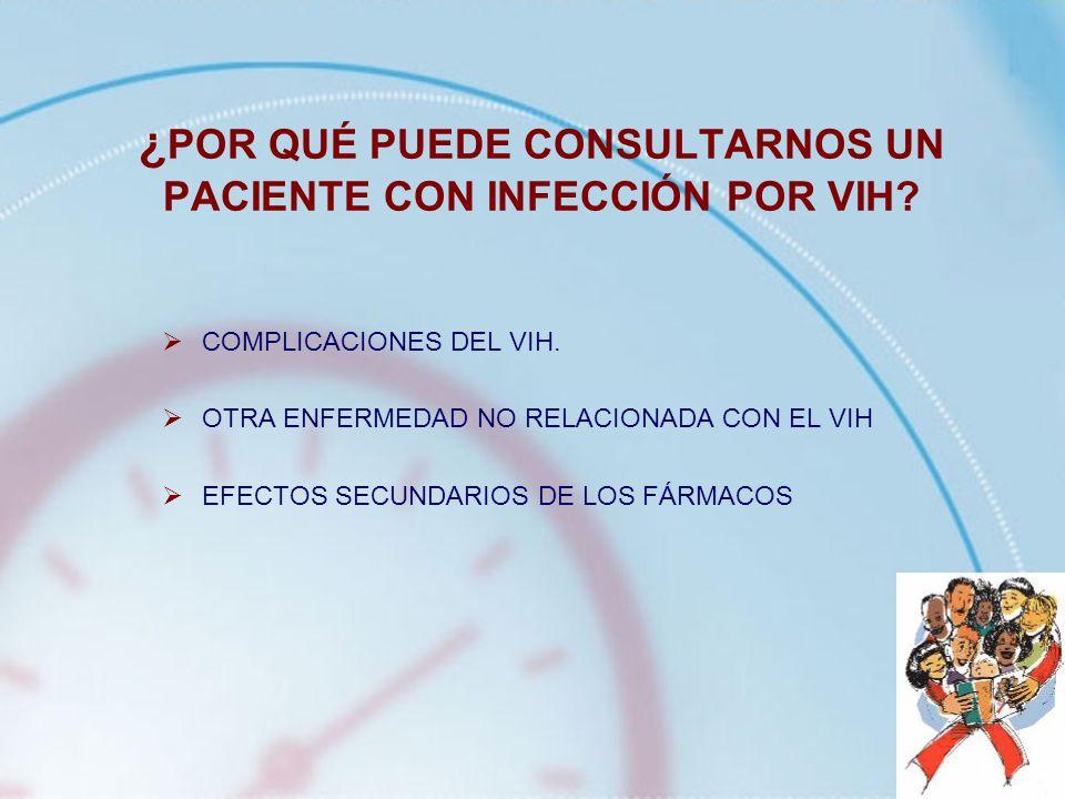¿ POR QUÉ PUEDE CONSULTARNOS UN PACIENTE CON INFECCIÓN POR VIH? COMPLICACIONES DEL VIH. OTRA ENFERMEDAD NO RELACIONADA CON EL VIH EFECTOS SECUNDARIOS
