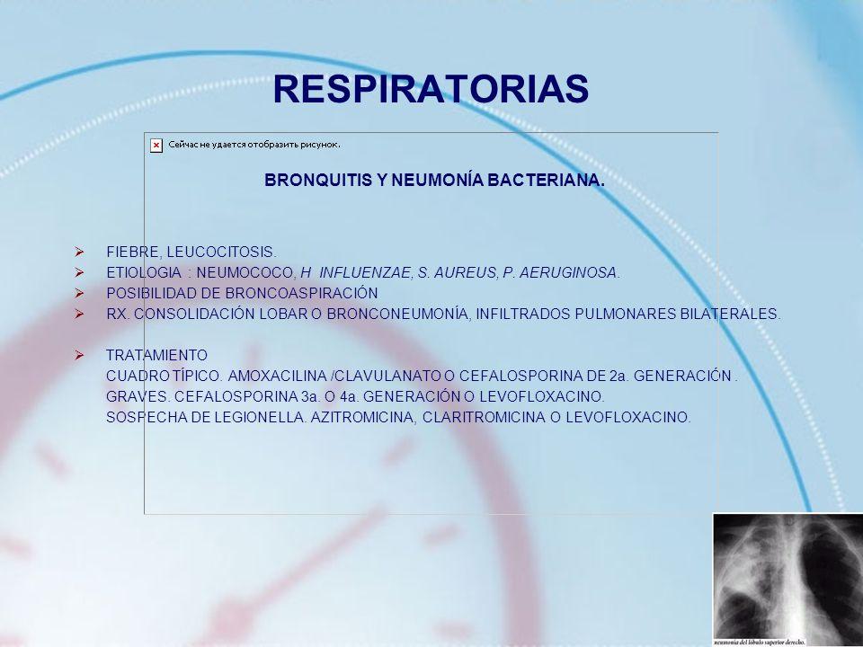 RESPIRATORIAS BRONQUITIS Y NEUMONÍA BACTERIANA. FIEBRE, LEUCOCITOSIS. ETIOLOGIA : NEUMOCOCO, H INFLUENZAE, S. AUREUS, P. AERUGINOSA. POSIBILIDAD DE BR