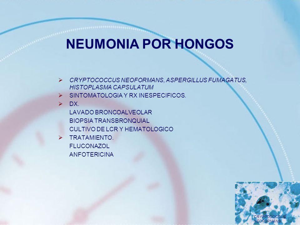 NEUMONIA POR HONGOS CRYPTOCOCCUS NEOFORMANS, ASPERGILLUS FUMAGATUS, HISTOPLASMA CAPSULATUM SINTOMATOLOGIA Y RX INESPECIFICOS. DX. LAVADO BRONCOALVEOLA