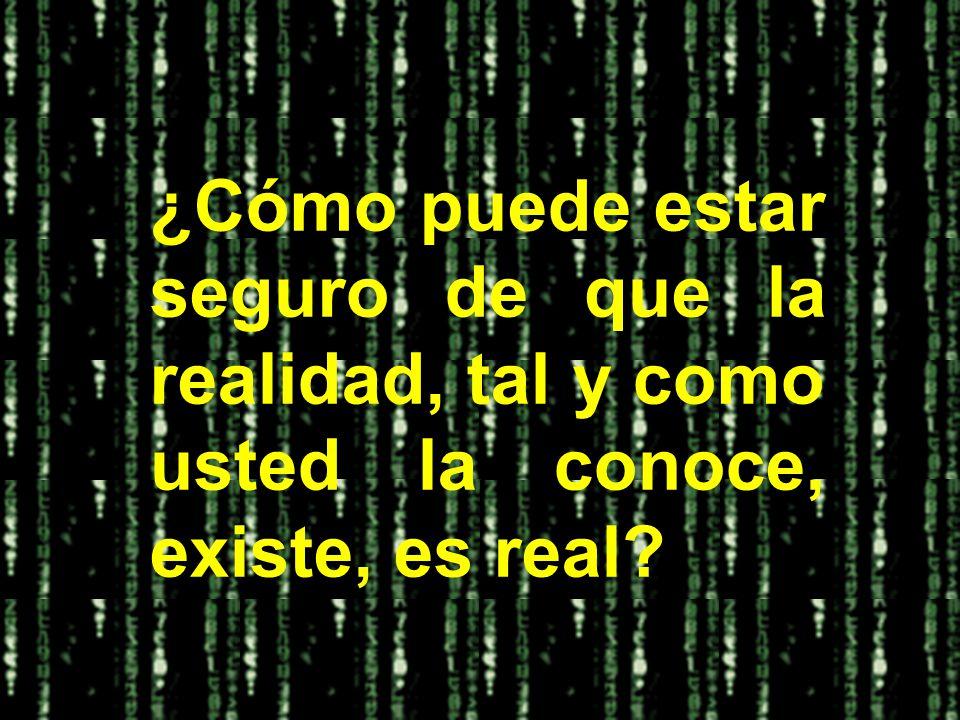 ¿Cómo puede estar seguro de que la realidad, tal y como usted la conoce, existe, es real?