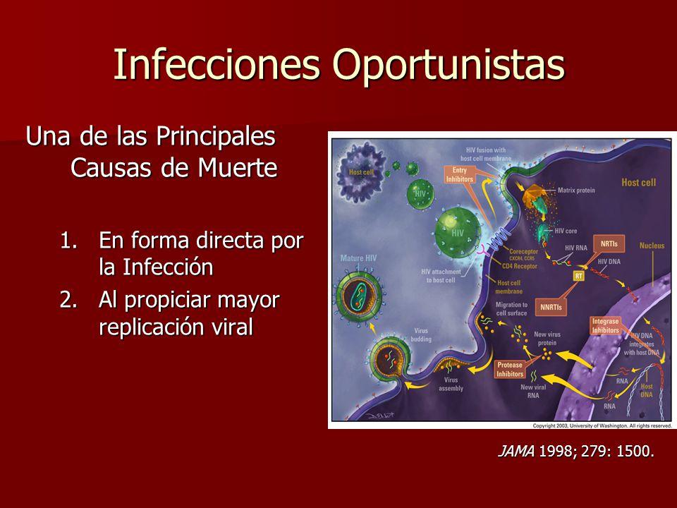 Infecciones Oportunistas Una de las Principales Causas de Muerte 1.En forma directa por la Infección 2.Al propiciar mayor replicación viral JAMA 1998;