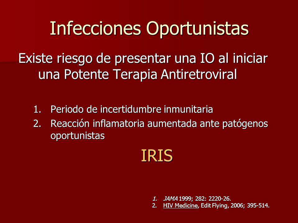 Infecciones Oportunistas Existe riesgo de presentar una IO al iniciar una Potente Terapia Antiretroviral 1.Periodo de incertidumbre inmunitaria 2.Reac