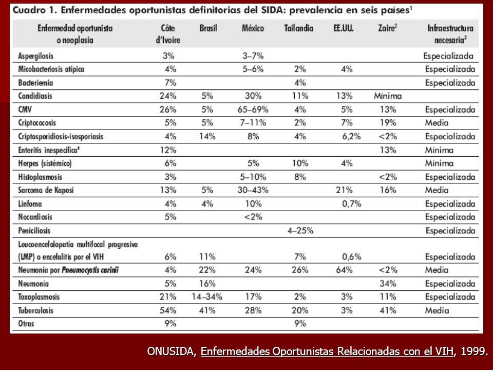 ONUSIDA, Enfermedades Oportunistas Relacionadas con el VIH, 1999.