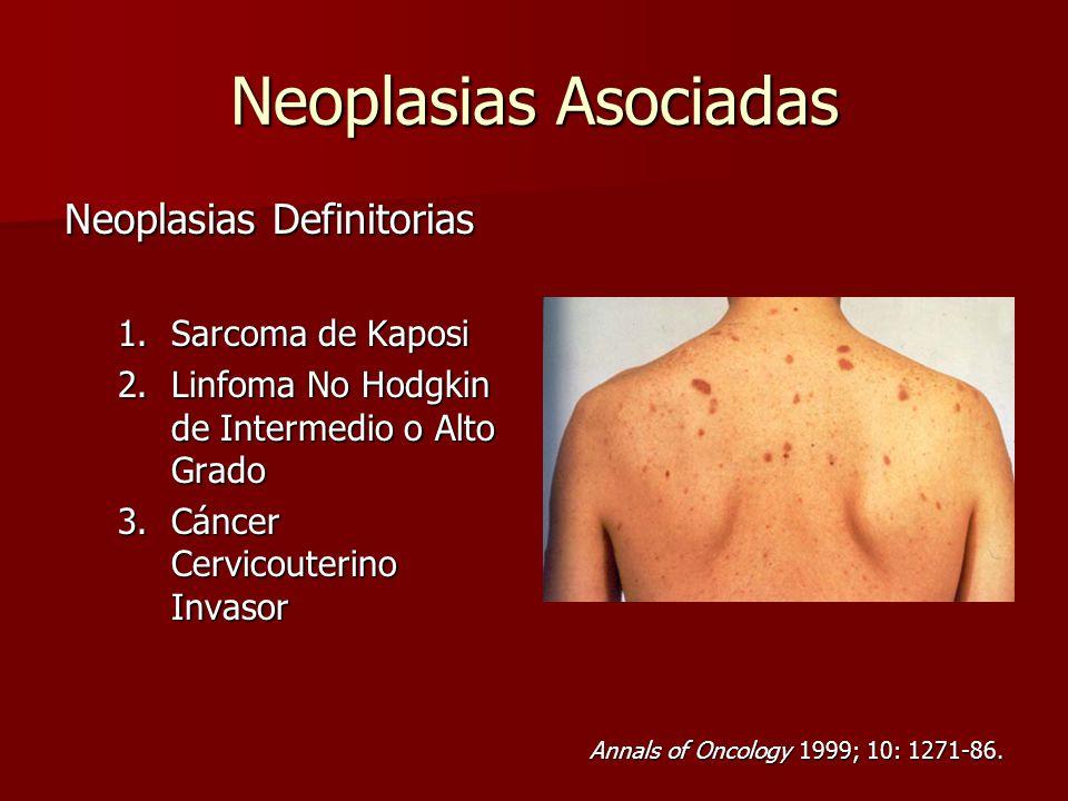 Neoplasias Asociadas Neoplasias Definitorias 1.Sarcoma de Kaposi 2.Linfoma No Hodgkin de Intermedio o Alto Grado 3.Cáncer Cervicouterino Invasor Annal