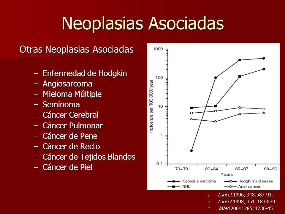 Neoplasias Asociadas Otras Neoplasias Asociadas –Enfermedad de Hodgkin –Angiosarcoma –Mieloma Múltiple –Seminoma –Cáncer Cerebral –Cáncer Pulmonar –Cá