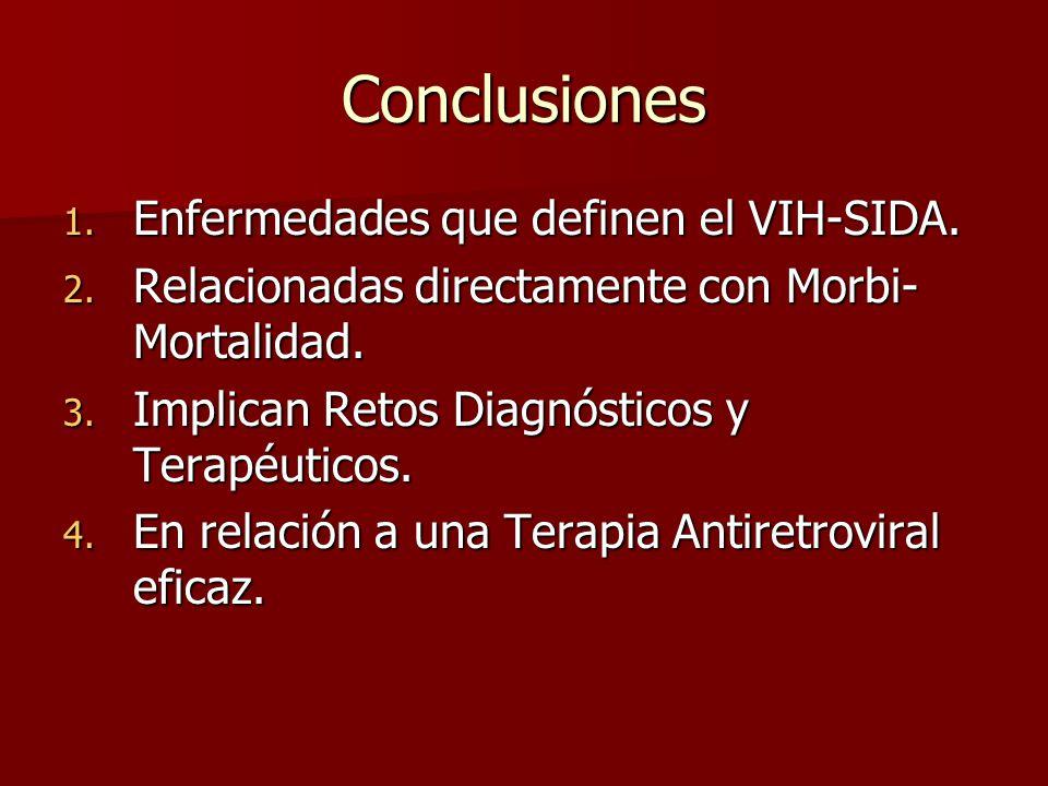 Conclusiones 1. Enfermedades que definen el VIH-SIDA. 2. Relacionadas directamente con Morbi- Mortalidad. 3. Implican Retos Diagnósticos y Terapéutico