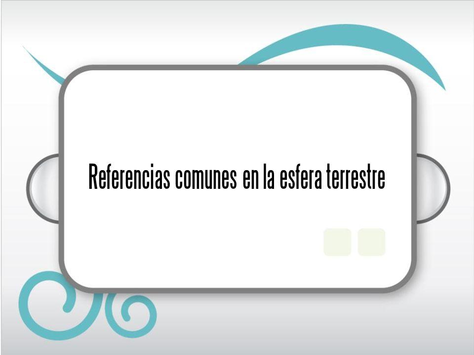Referencias comunes Con la finalidad de establecer referencias comunes en la esfera terrestre, se han trazado líneas: paralelos, meridianos y el ecuador, que además, permiten señalar los puntos donde se encuentran los polos.