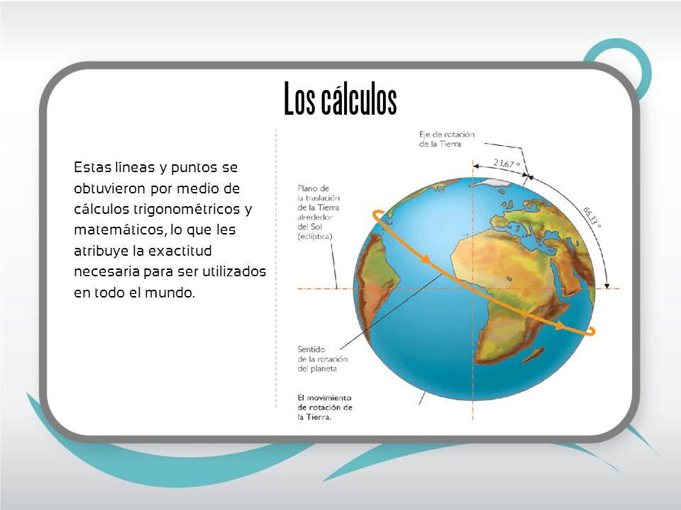 Los cálculos Estas líneas y puntos se obtuvieron por medio de cálculos trigonométricos y matemáticos, lo que les atribuye la exactitud necesaria para