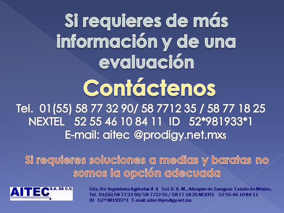 Cda. De Ingenieros Agrícolas # 4 Col. U. A. M., Atizapán de Zaragoza Estado de México, Tel. 01(55) 58 77 32 90/ 58 7712 35 / 58 77 18 25 NEXTEL 52 55