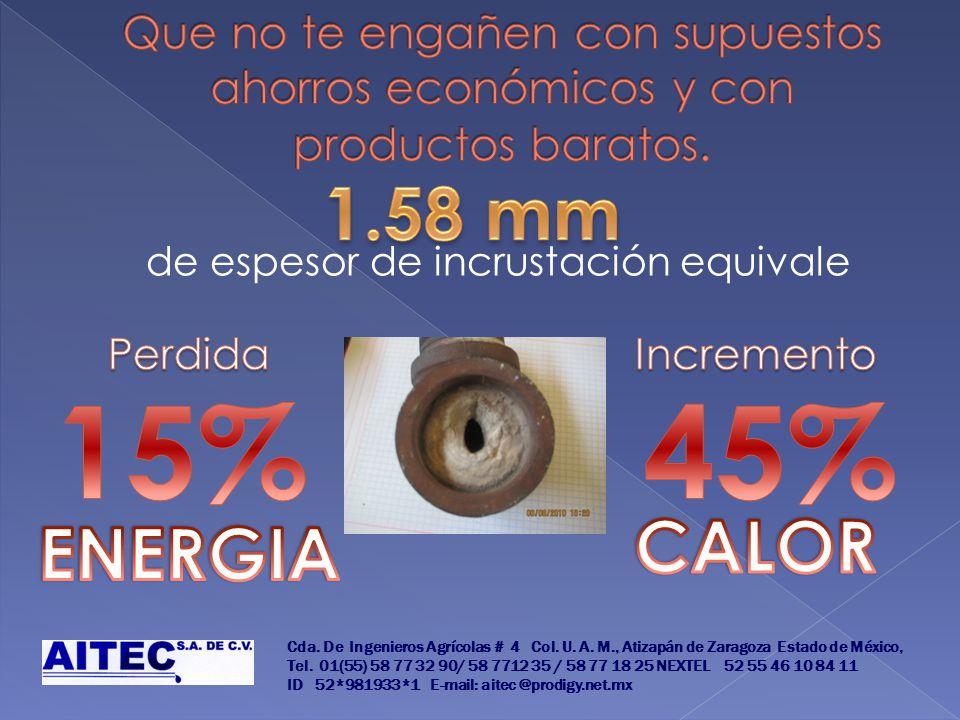 de espesor de incrustación equivale Cda. De Ingenieros Agrícolas # 4 Col. U. A. M., Atizapán de Zaragoza Estado de México, Tel. 01(55) 58 77 32 90/ 58