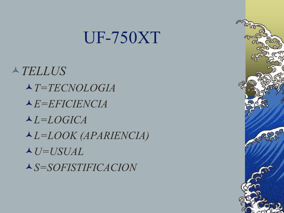 UF-750XT TELLUS T=TECNOLOGIA E=EFICIENCIA L=LOGICA L=LOOK (APARIENCIA) U=USUAL S=SOFISTIFICACION
