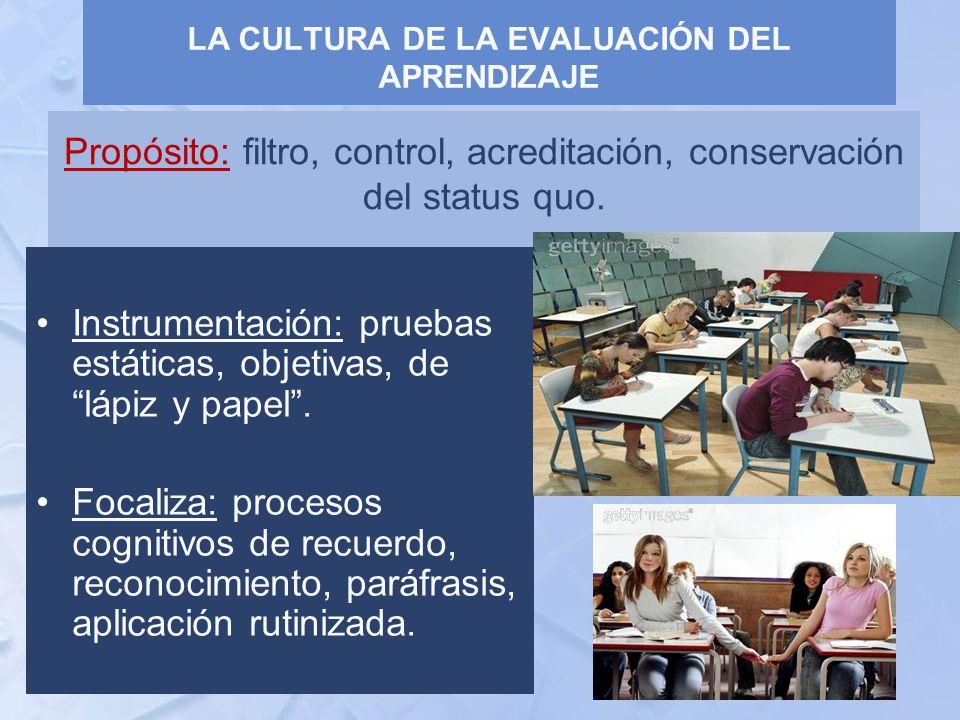 Propósito: filtro, control, acreditación, conservación del status quo. Instrumentación: pruebas estáticas, objetivas, de lápiz y papel. Focaliza: proc