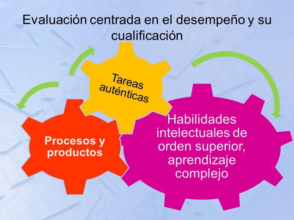 Evaluación centrada en el desempeño y su cualificación Habilidades intelectuales de orden superior, aprendizaje complejo Procesos y productos Tareas a