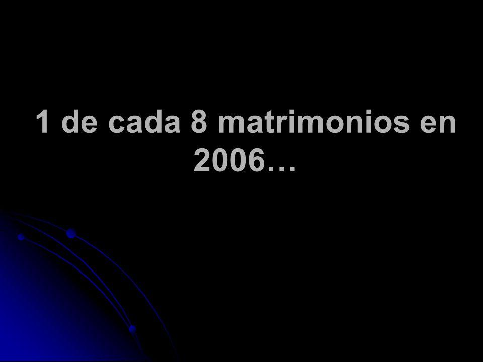 1 de cada 8 matrimonios en 2006…