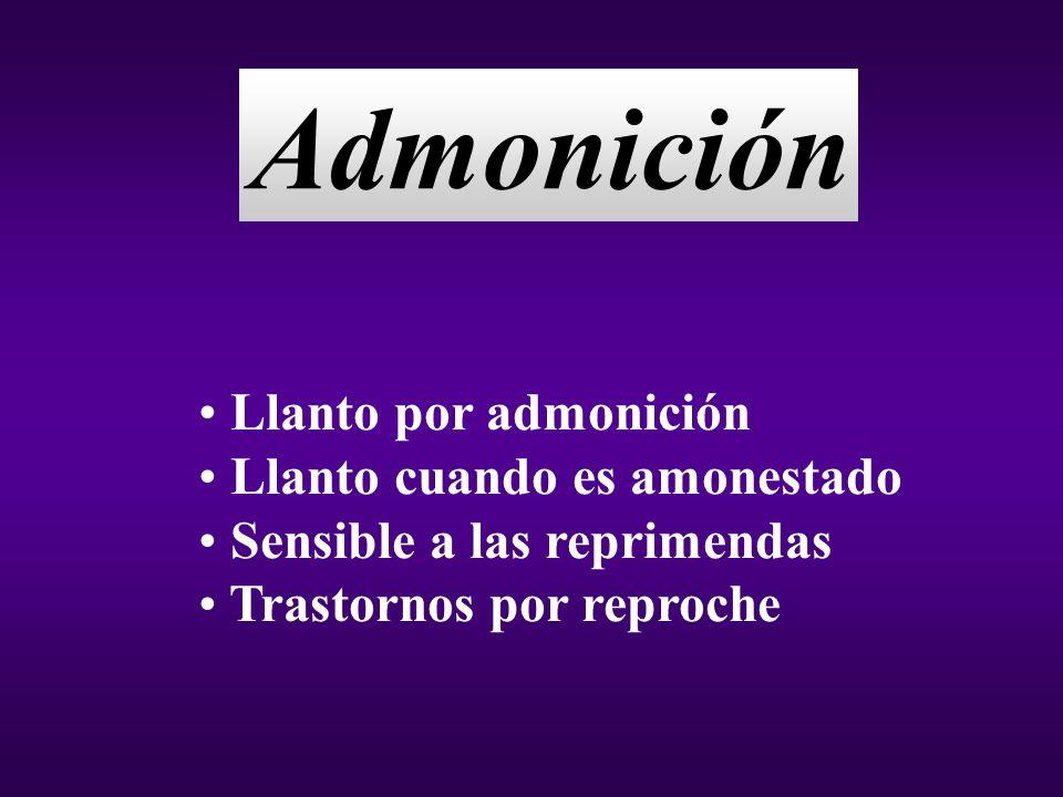 Admonición Llanto por admonición Llanto cuando es amonestado Sensible a las reprimendas Trastornos por reproche