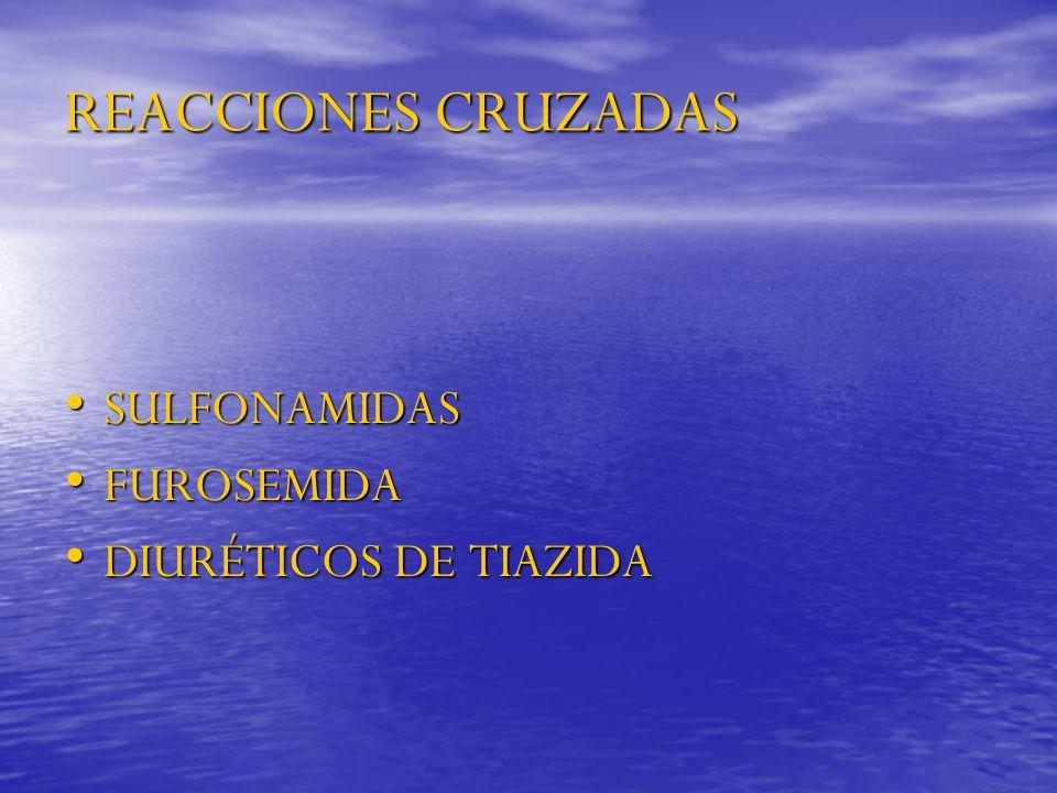 REACCIONES CRUZADAS SULFONAMIDAS SULFONAMIDAS FUROSEMIDA FUROSEMIDA DIURÉTICOS DE TIAZIDA DIURÉTICOS DE TIAZIDA