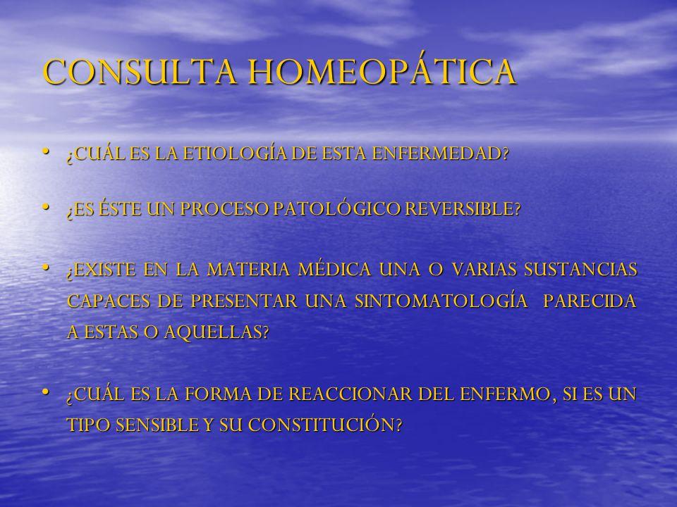 CONSULTA HOMEOPÁTICA ¿CUÁL ES LA ETIOLOGÍA DE ESTA ENFERMEDAD? ¿CUÁL ES LA ETIOLOGÍA DE ESTA ENFERMEDAD? ¿ES ÉSTE UN PROCESO PATOLÓGICO REVERSIBLE? ¿E