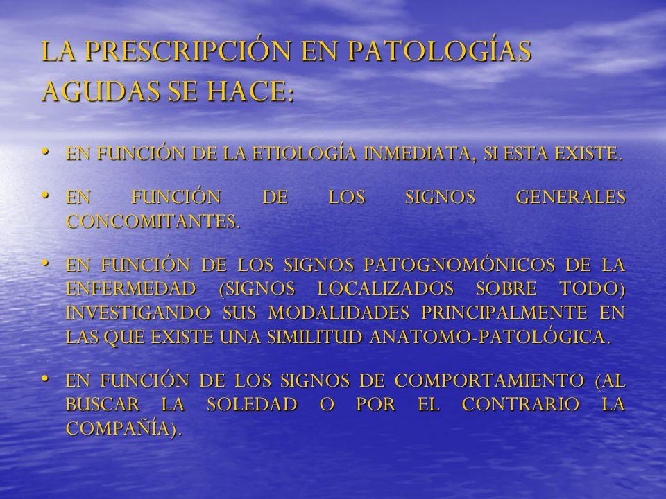 LA PRESCRIPCIÓN EN PATOLOGÍAS AGUDAS SE HACE: EN FUNCIÓN DE LA ETIOLOGÍA INMEDIATA, SI ESTA EXISTE. EN FUNCIÓN DE LA ETIOLOGÍA INMEDIATA, SI ESTA EXIS