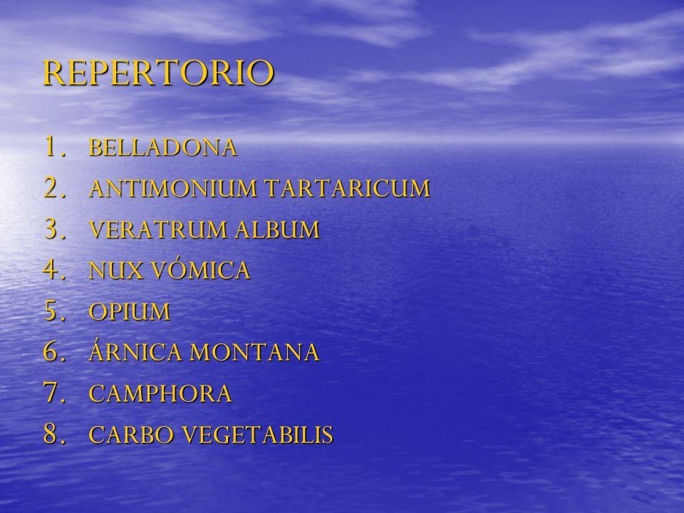 REPERTORIO 1. BELLADONA 2. ANTIMONIUM TARTARICUM 3. VERATRUM ALBUM 4. NUX VÓMICA 5. OPIUM 6. ÁRNICA MONTANA 7. CAMPHORA 8. CARBO VEGETABILIS