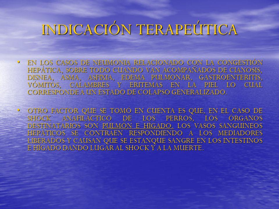 INDICACIÓN TERAPEÚTICA EN LOS CASOS DE NEUMONIA RELACIONADO CON LA CONGESTIÓN HEPÁTICA, SOBRE TODO CUANDO VAN ACOMPAÑADOS DE CIANOSIS, DISNEA, ASMA, A