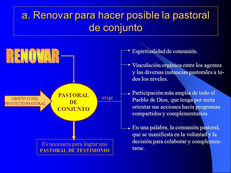 a. Renovar para hacer posible la pastoral de conjunto PASTORAL DE CONJUNTO OBJETIVO DEL PROYECTO PASTORAL Espiritualidad de comunión. Vinculación orgá