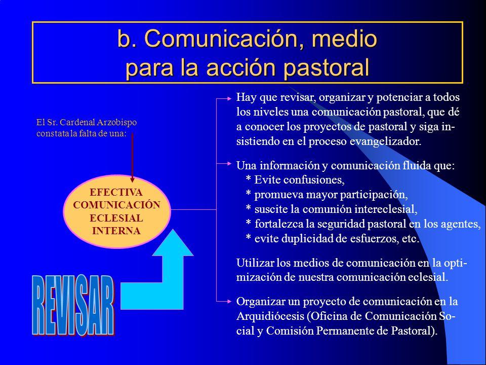 b. Comunicación, medio para la acción pastoral EFECTIVA COMUNICACIÓN ECLESIAL INTERNA Hay que revisar, organizar y potenciar a todos los niveles una c