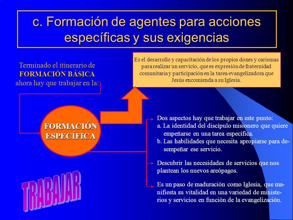c. Formación de agentes para acciones específicas y sus exigencias Terminado el itinerario de FORMACIÓN BÁSICA ahora hay que trabajar en la: FORMACIÓN