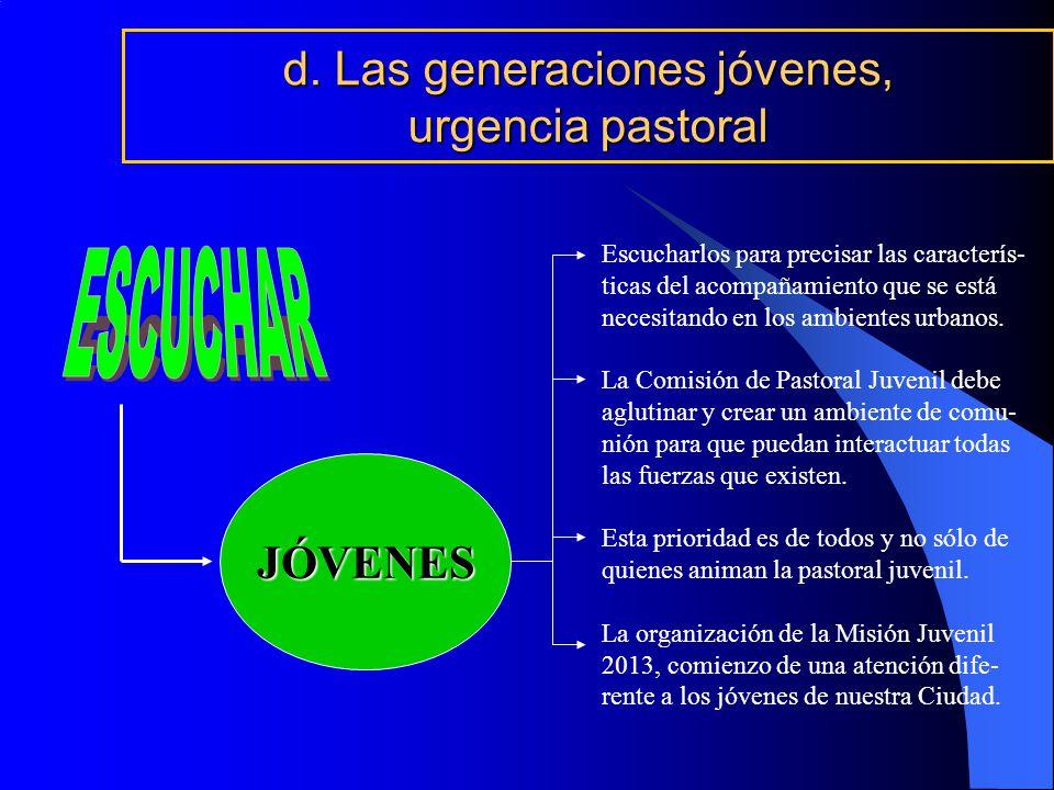 d. Las generaciones jóvenes, urgencia pastoral JÓVENES Escucharlos para precisar las caracterís- ticas del acompañamiento que se está necesitando en l