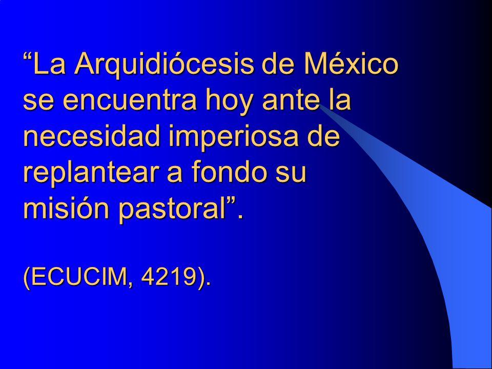 La Arquidiócesis de México se encuentra hoy ante la necesidad imperiosa de replantear a fondo su misión pastoral. (ECUCIM, 4219).