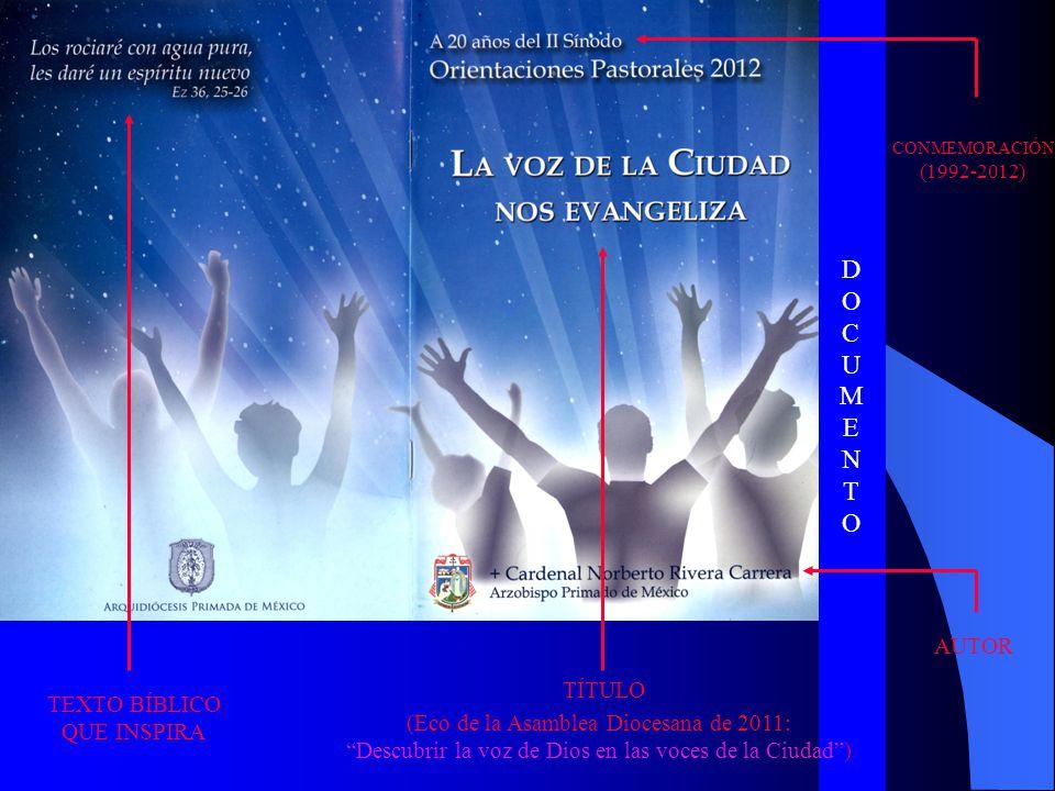 DOCUMENTODOCUMENTO TEXTO BÍBLICO QUE INSPIRA TÍTULO (Eco de la Asamblea Diocesana de 2011: Descubrir la voz de Dios en las voces de la Ciudad) CONMEMO