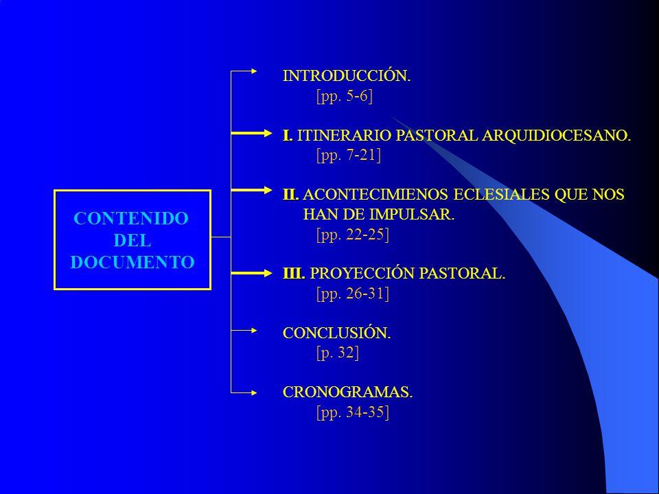 CONTENIDO DEL DOCUMENTO INTRODUCCIÓN. [pp. 5-6] I. I. ITINERARIO PASTORAL ARQUIDIOCESANO. [pp. 7-21] II. II. ACONTECIMIENOS ECLESIALES QUE NOS HAN DE