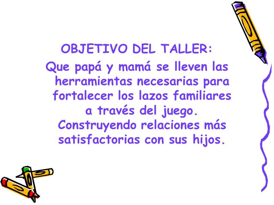 OBJETIVO DEL TALLER: Que papá y mamá se lleven las herramientas necesarias para fortalecer los lazos familiares a través del juego. Construyendo relac