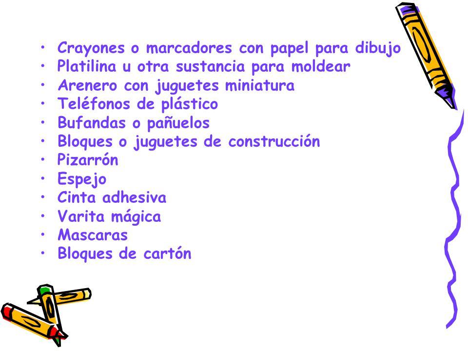 Crayones o marcadores con papel para dibujo Platilina u otra sustancia para moldear Arenero con juguetes miniatura Teléfonos de plástico Bufandas o pa