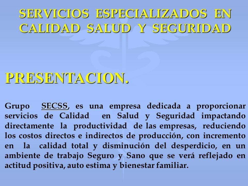 SERVICIOS ESPECIALIZADOS EN CALIDAD SALUD Y SEGURIDAD PRESENTACION. SECSS Grupo SECSS, es una empresa dedicada a proporcionar servicios de Calidad en