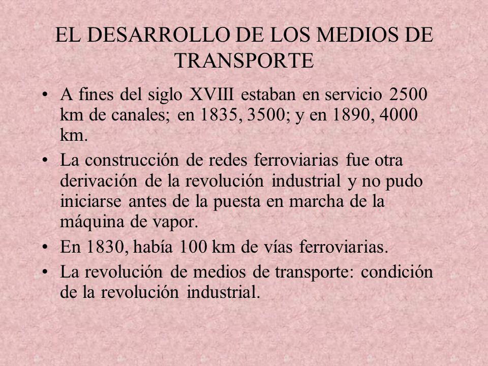EL DESARROLLO DE LOS MEDIOS DE TRANSPORTE A fines del siglo XVIII estaban en servicio 2500 km de canales; en 1835, 3500; y en 1890, 4000 km. La constr