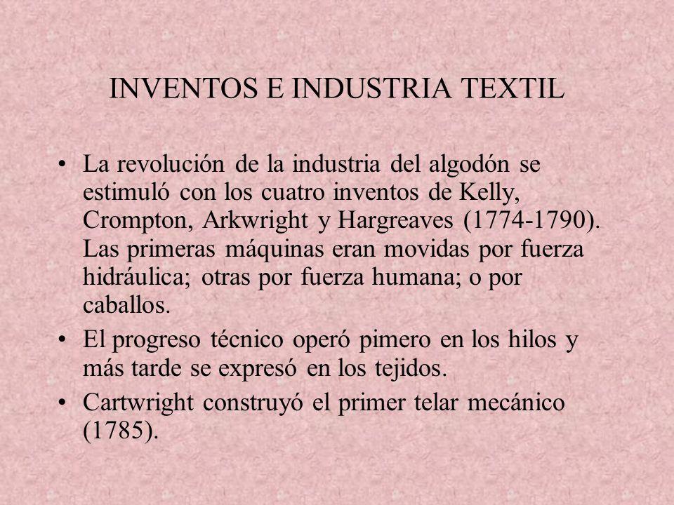 INVENTOS E INDUSTRIA TEXTIL La revolución de la industria del algodón se estimuló con los cuatro inventos de Kelly, Crompton, Arkwright y Hargreaves (