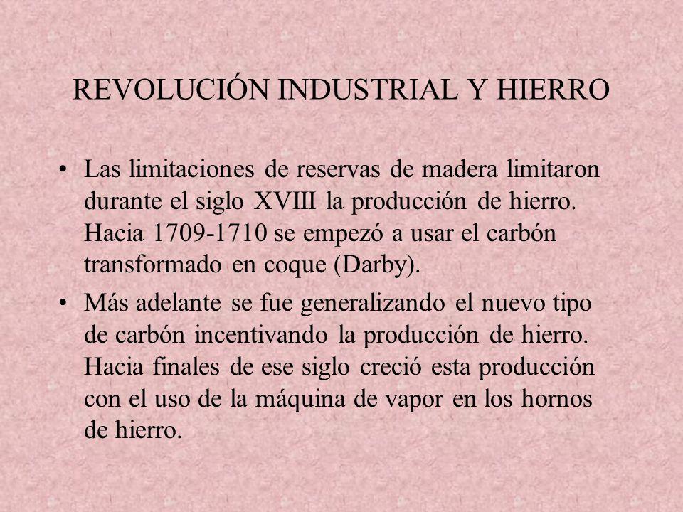 REVOLUCIÓN INDUSTRIAL Y HIERRO Las limitaciones de reservas de madera limitaron durante el siglo XVIII la producción de hierro. Hacia 1709-1710 se emp