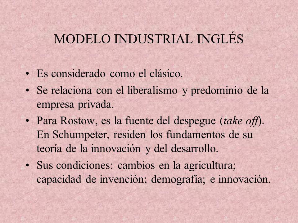 MODELO INDUSTRIAL INGLÉS Es considerado como el clásico. Se relaciona con el liberalismo y predominio de la empresa privada. Para Rostow, es la fuente