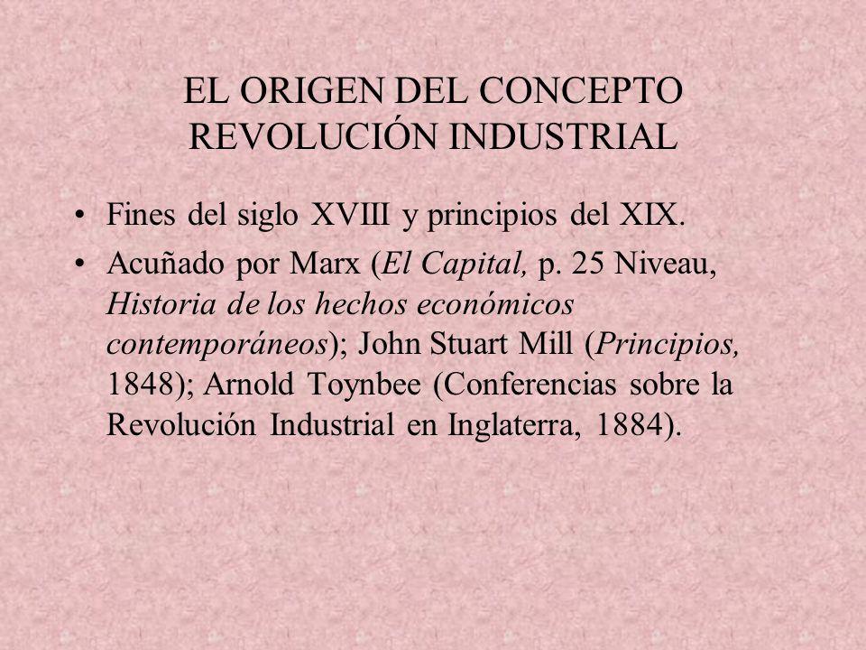 EL ORIGEN DEL CONCEPTO REVOLUCIÓN INDUSTRIAL Fines del siglo XVIII y principios del XIX. Acuñado por Marx (El Capital, p. 25 Niveau, Historia de los h