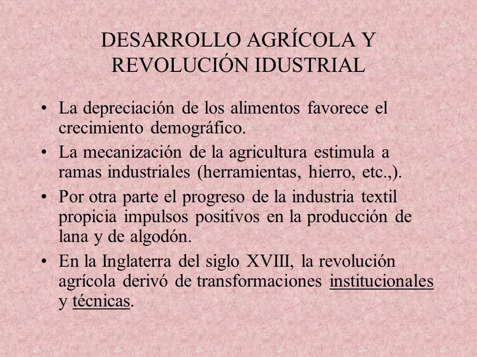 DESARROLLO AGRÍCOLA Y REVOLUCIÓN IDUSTRIAL La depreciación de los alimentos favorece el crecimiento demográfico. La mecanización de la agricultura est