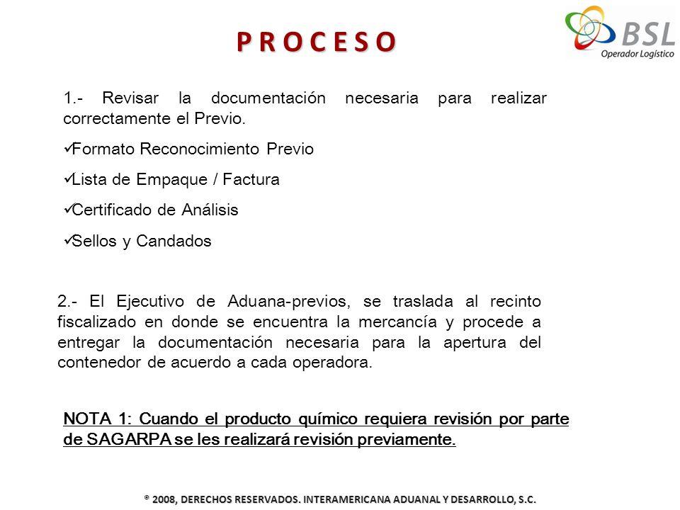 P R O C E S O ® 2008, DERECHOS RESERVADOS. INTERAMERICANA ADUANAL Y DESARROLLO, S.C. 2.- El Ejecutivo de Aduana-previos, se traslada al recinto fiscal