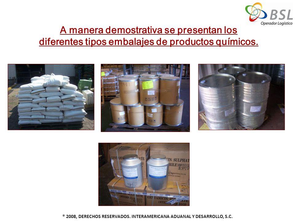 ® 2008, DERECHOS RESERVADOS. INTERAMERICANA ADUANAL Y DESARROLLO, S.C. A manera demostrativa se presentan los diferentes tipos embalajes de productos