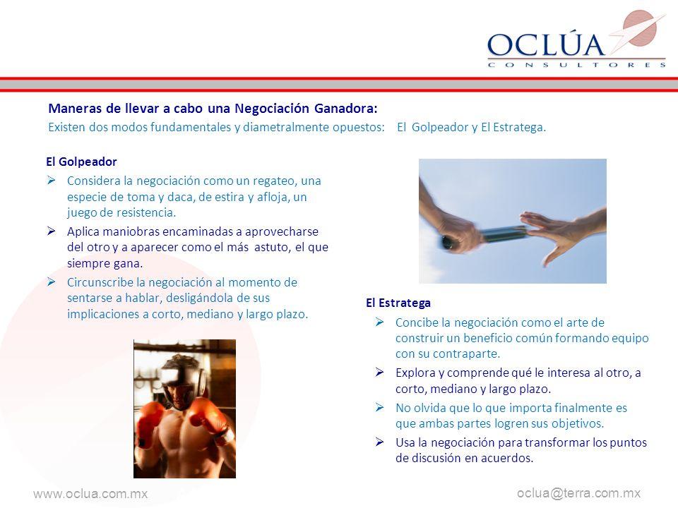 www.oclua.com.mx oclua@terra.com.mx AAA El Golpeador Considera la negociación como un regateo, una especie de toma y daca, de estira y afloja, un juego de resistencia.