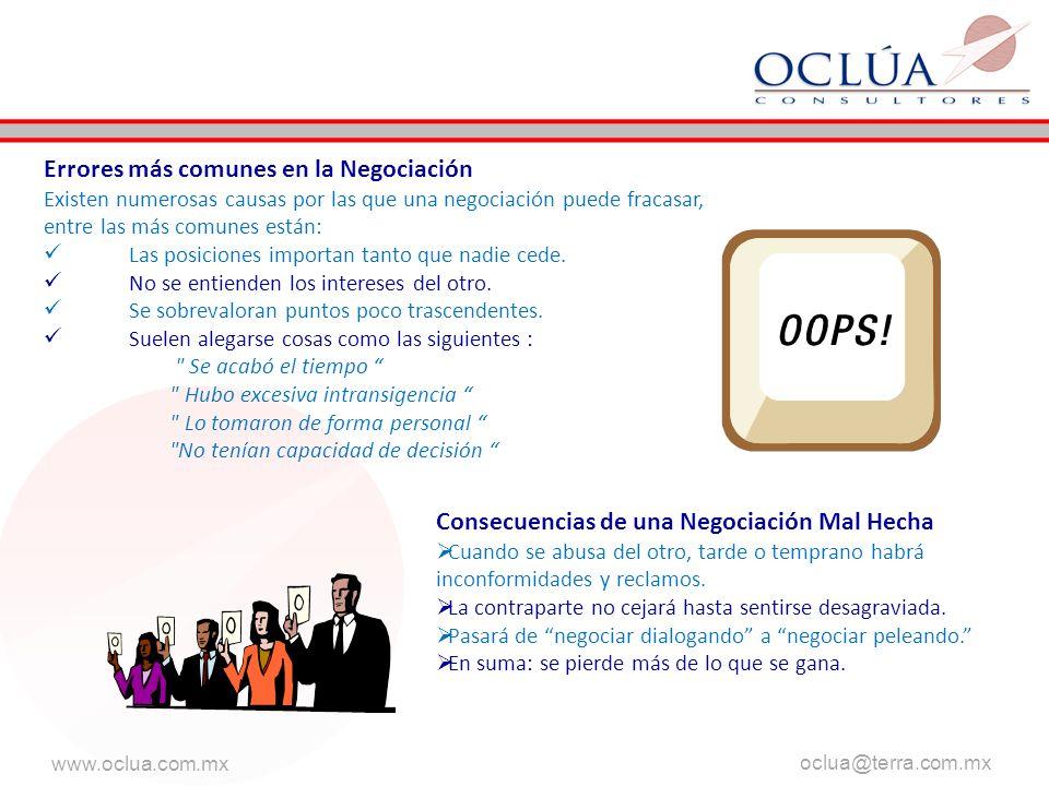 www.oclua.com.mx oclua@terra.com.mx aaa Errores más comunes en la Negociación Existen numerosas causas por las que una negociación puede fracasar, entre las más comunes están: Las posiciones importan tanto que nadie cede.