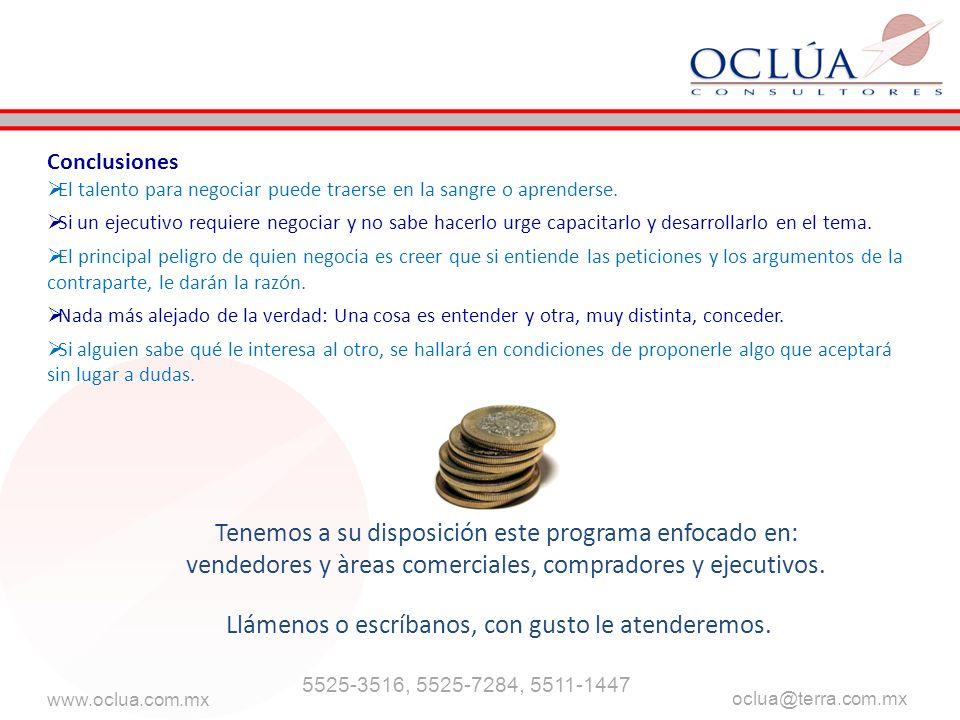 www.oclua.com.mx oclua@terra.com.mx Llámenos o escríbanos, con gusto le atenderemos.