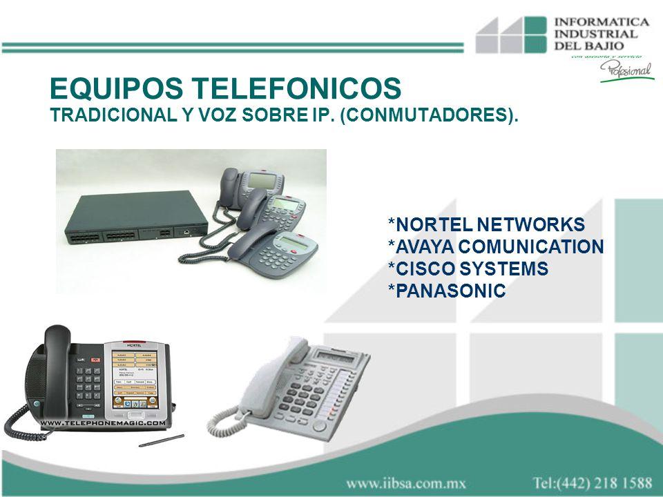 *NORTEL NETWORKS *AVAYA COMUNICATION *CISCO SYSTEMS *PANASONIC EQUIPOS TELEFONICOS TRADICIONAL Y VOZ SOBRE IP. (CONMUTADORES).