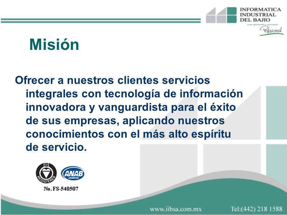 Ofrecer a nuestros clientes servicios integrales con tecnología de información innovadora y vanguardista para el éxito de sus empresas, aplicando nues